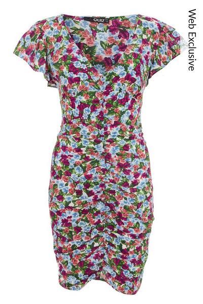 Multicoloured Floral Bodycon Dress